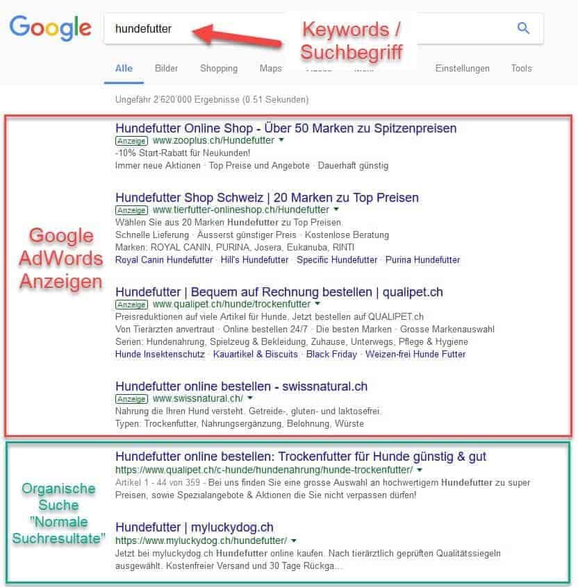 Übersicht Google Suchresultat-Seite