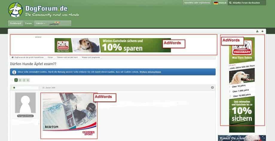 Beispiele von Display Anzeigen. Gekennzeichnet mit AdWords