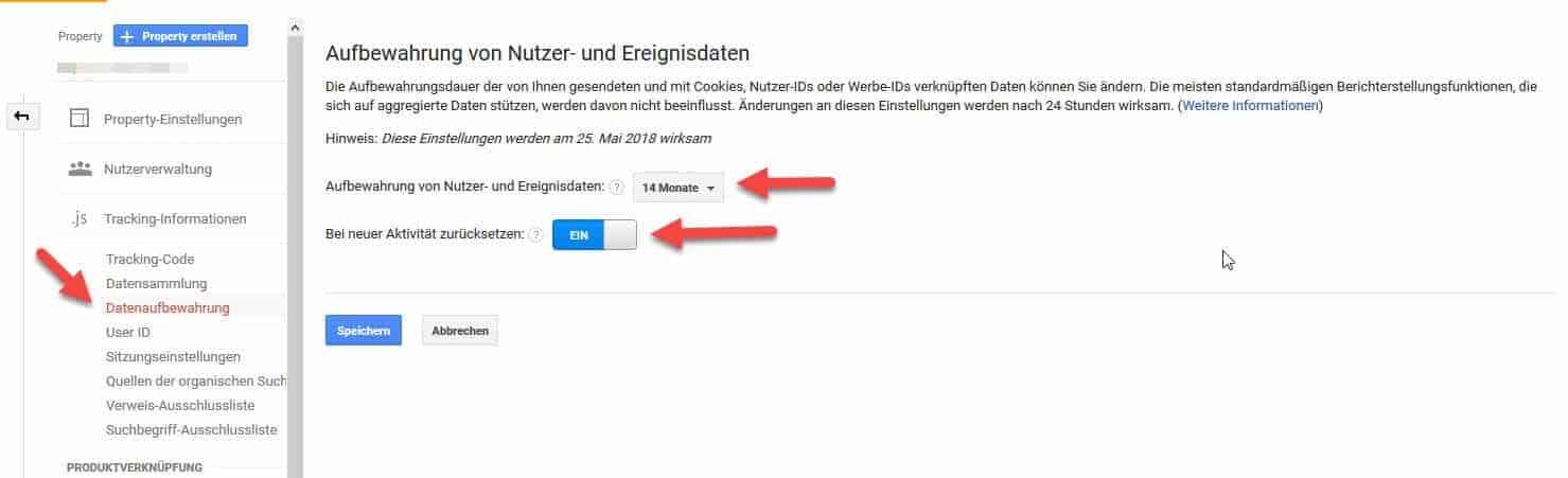 Datenaufbewahrung Google Analytics